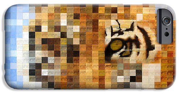 Mosaic iPhone Cases - About 400 Sumatran Tigers Acrylic On Paper iPhone Case by Charlie Baird