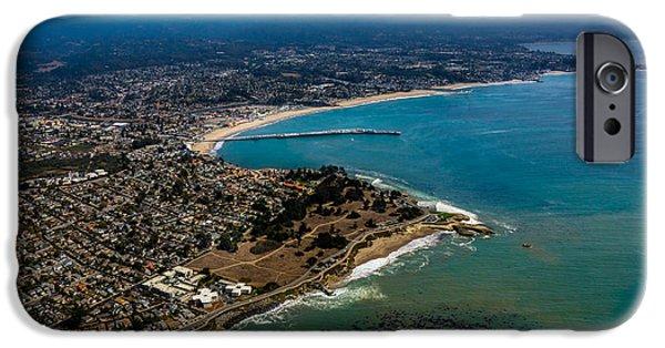 Steamer Lane iPhone Cases - Above Santa Cruz California Looking East iPhone Case by Randy Straka