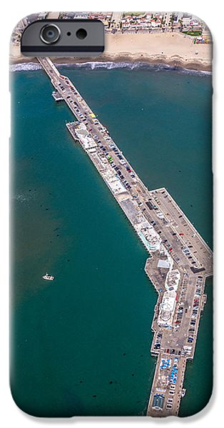 Santa Cruz Wharf iPhone Cases - Above Santa Cruz Wharf iPhone Case by Randy Straka