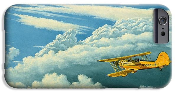 Biplane iPhone Cases - Above The Clouds-Waco Biplane iPhone Case by Paul Krapf