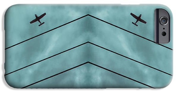 Blue Abstracts iPhone Cases - Above the Lines Blue Panorama iPhone Case by Tony Grider