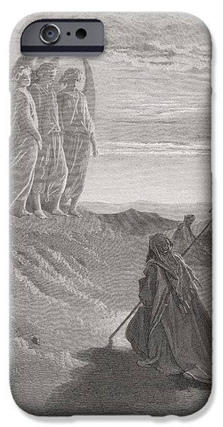 Engraving iPhone Cases - Abraham and the Three Angels iPhone Case by Gustave Dore