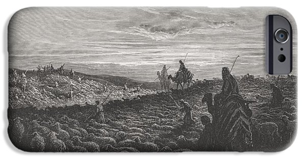 Religious Drawings iPhone Cases - Abraham Journeying Into the Land of Canaan iPhone Case by Gustave Dore
