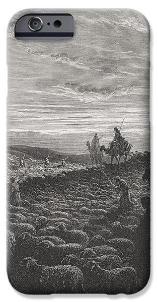 Abraham Journeying Into the Land of Canaan iPhone Case by Gustave Dore