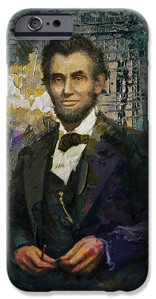 Lincoln iPhone Cases - Abraham Lincoln 01 iPhone Case by Corporate Art Task Force