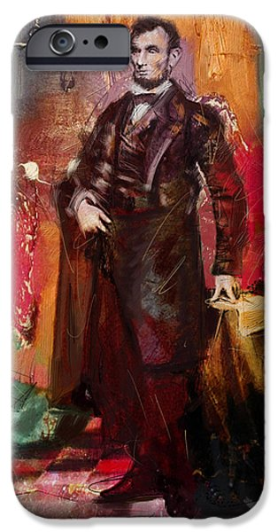 Politician iPhone Cases - Abraham Lincoln 05 iPhone Case by Corporate Art Task Force