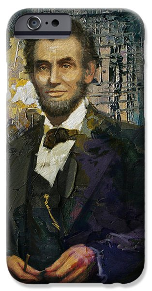 Lincoln iPhone Cases - Abraham Lincoln 07 iPhone Case by Corporate Art Task Force