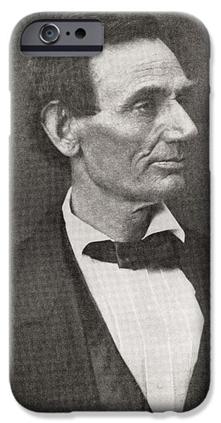 President iPhone Cases - Abraham Lincoln, 1809 – 1865, Seen Here In 1860.  16th President Of The United States Of America iPhone Case by Bridgeman Images