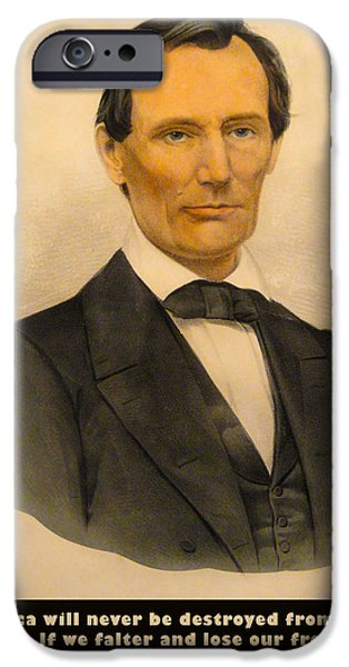Currier iPhone Cases - Abraham Lincoln 1860 iPhone Case by Currier and Ives