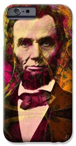 Fourth Of July iPhone Cases - Abraham Lincoln 2014020502 iPhone Case by Wingsdomain Art and Photography