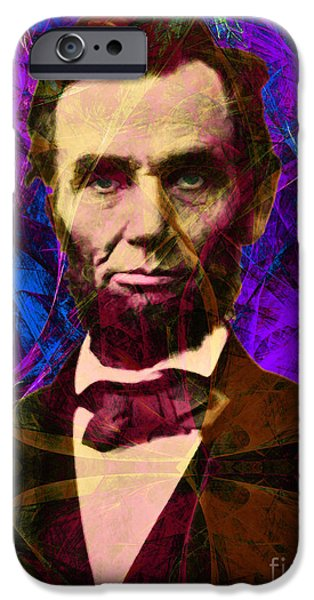 4th July iPhone Cases - Abraham Lincoln 2014020502m118 iPhone Case by Wingsdomain Art and Photography