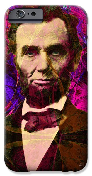 4th July iPhone Cases - Abraham Lincoln 2014020502m68 iPhone Case by Wingsdomain Art and Photography