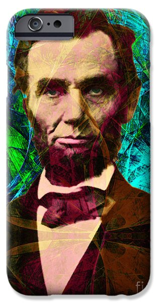 Fourth Of July iPhone Cases - Abraham Lincoln 2014020502p145 iPhone Case by Wingsdomain Art and Photography