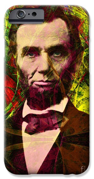 4th July iPhone Cases - Abraham Lincoln 2014020502p28 iPhone Case by Wingsdomain Art and Photography