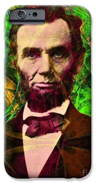 Fourth Of July iPhone Cases - Abraham Lincoln 2014020502p68 iPhone Case by Wingsdomain Art and Photography