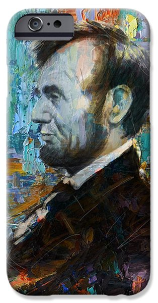Lincoln iPhone Cases - Abraham Lincoln 6 iPhone Case by Corporate Art Task Force