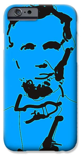 Abraham Lincoln Digital iPhone Cases - Abraham Lincoln Abstract iPhone Case by Pixel Chimp