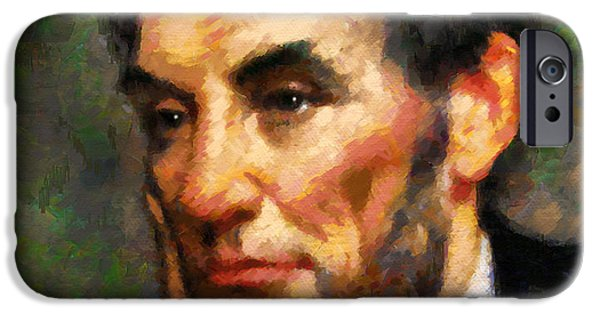 President iPhone Cases - Abraham Lincoln - Abstract Realism iPhone Case by Georgiana Romanovna