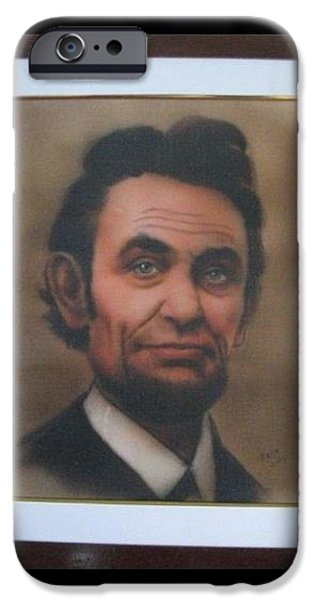 President Pastels iPhone Cases - Abraham Lincoln iPhone Case by Babu