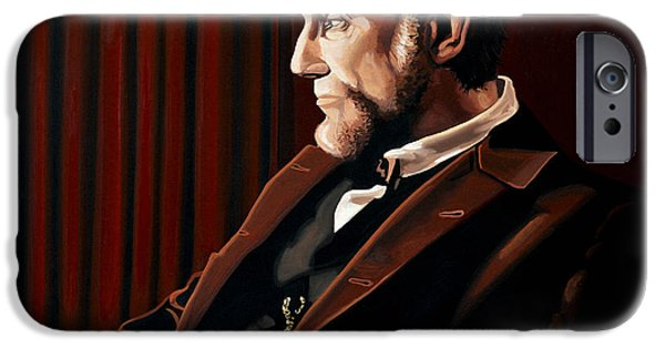 White House Paintings iPhone Cases - Abraham Lincoln by Daniel Day-Lewis iPhone Case by Paul Meijering