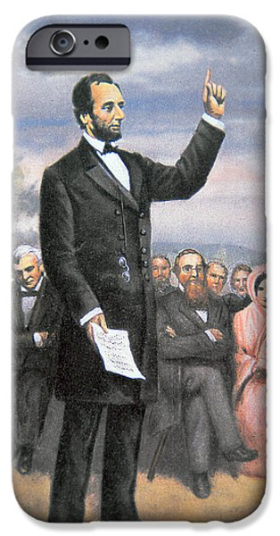 Orator iPhone Cases - Abraham lincoln Delivering the Gettysburg Address iPhone Case by American School