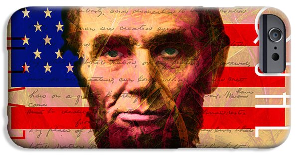 President iPhone Cases - Abraham Lincoln Gettysburg Address All Men Are Created Equal 20140211 iPhone Case by Wingsdomain Art and Photography