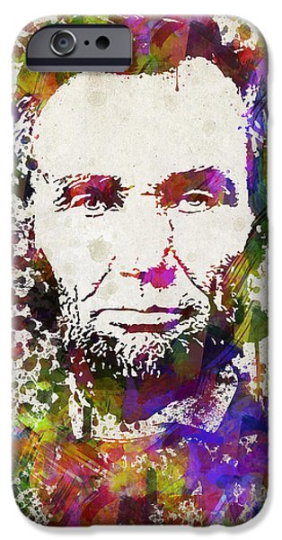 Lincoln Digital Art iPhone Cases - Abraham Lincoln in Color iPhone Case by Aged Pixel