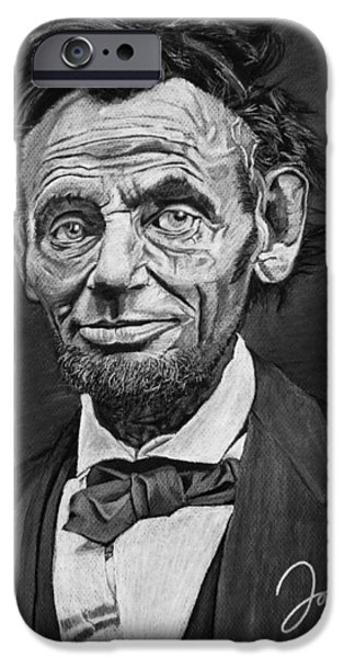 President Pastels iPhone Cases - Abraham Lincoln iPhone Case by Jordan Spector