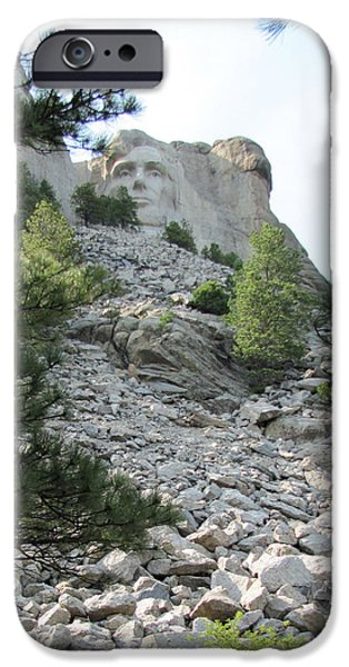 President Pyrography iPhone Cases - Abraham Lincoln - Mt. Rushmore iPhone Case by Karen Gross