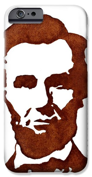 Abraham Lincoln Art iPhone Cases - Abraham Lincoln original coffee painting iPhone Case by Georgeta  Blanaru