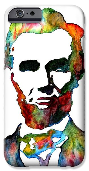 Abraham Lincoln Art iPhone Cases - Abraham Lincoln original watercolor  iPhone Case by Georgeta  Blanaru