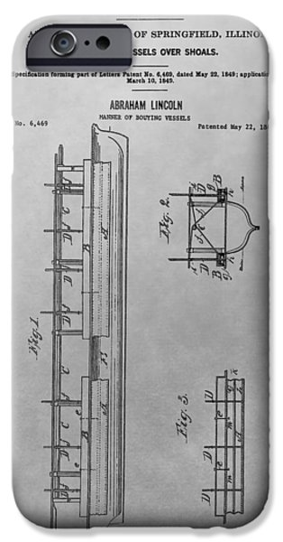 Lincoln Drawings iPhone Cases - Abraham Lincoln Patent Drawing iPhone Case by Dan Sproul