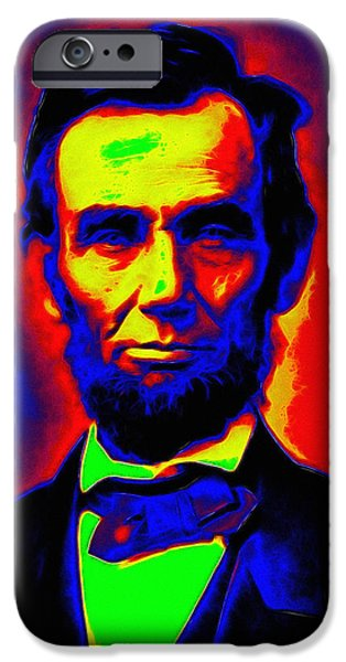 Abraham Lincoln Art iPhone Cases - Abraham Lincoln Pop Art iPhone Case by Stefan Kuhn