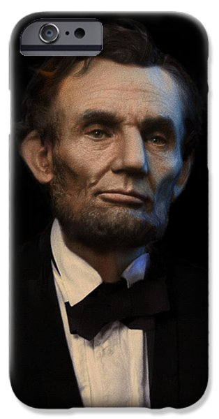 Officers iPhone Cases - Abraham Lincoln Portrait iPhone Case by Ray Downing