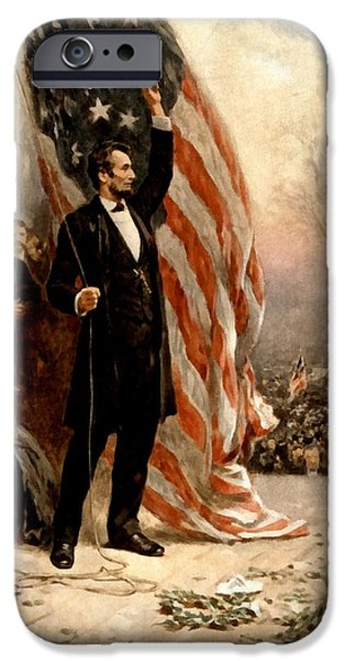 Old Glory iPhone Cases - Abraham Lincoln Raising The Flag iPhone Case by Ferris
