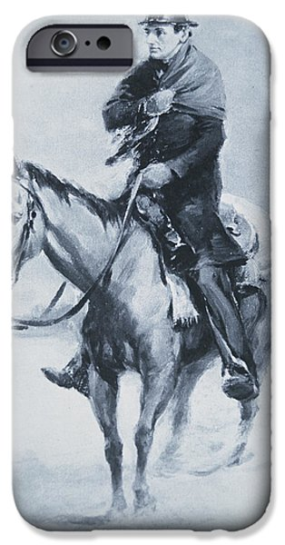 Portraiture Drawings iPhone Cases - Abraham Lincoln Riding his Judicial Circuit iPhone Case by Louis Bonhajo