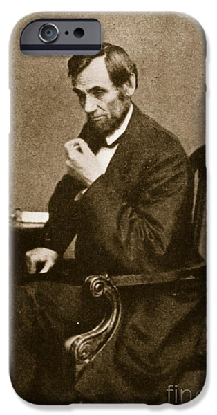 Politician Photographs iPhone Cases - Abraham Lincoln Sitting at Desk iPhone Case by Mathew Brady