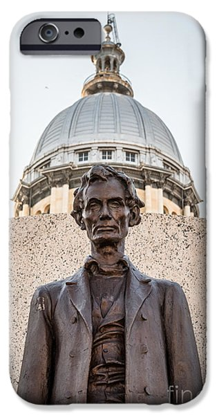 President iPhone Cases - Abraham Lincoln Statue at Illinois State Capitol iPhone Case by Paul Velgos