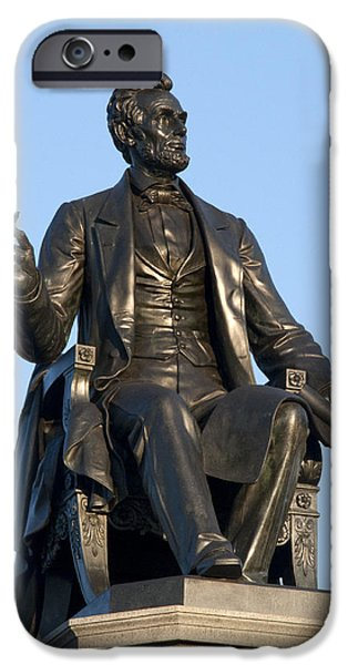Abraham Lincoln Digital iPhone Cases - Abraham Lincoln Statue Philadelphia iPhone Case by Bill Cannon