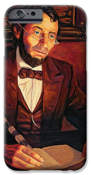 President iPhone Cases - Abraham Lincoln iPhone Case by Steve Simon
