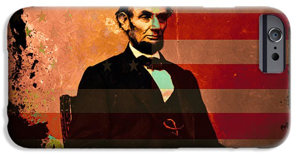 July 4th iPhone Cases - Abraham Lincoln iPhone Case by Wingsdomain Art and Photography