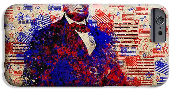 President iPhone Cases - Abraham Lincoln With Flags iPhone Case by MB Art factory