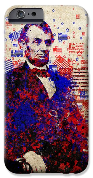 abraham lincoln with flags iPhone Case by MB Art factory