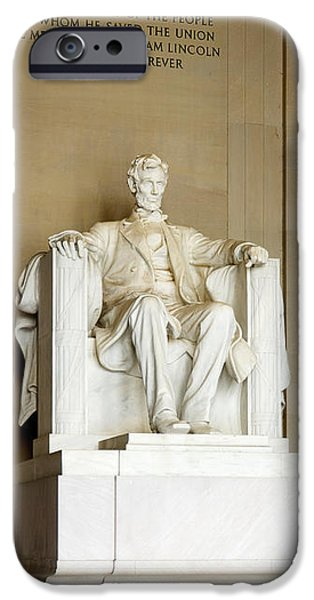 President iPhone Cases - Abraham Lincolns Statue In A Memorial iPhone Case by Panoramic Images