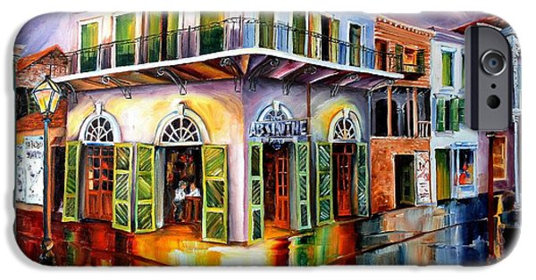 French Quarter Paintings iPhone Cases - Absinthe House New Orleans iPhone Case by Diane Millsap