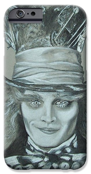 Mad Hatter iPhone Cases - Absolutely Mad iPhone Case by Ed McNeil