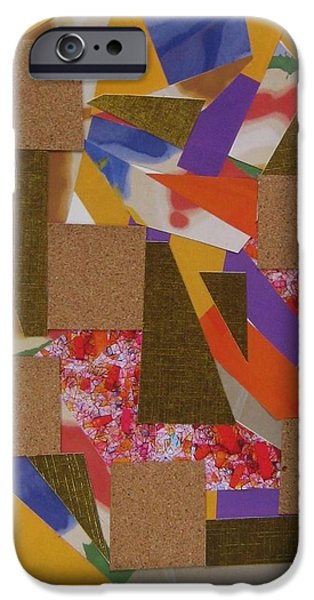 Abstract Collage Drawings iPhone Cases - Absract No 8 iPhone Case by Paul Meinerth