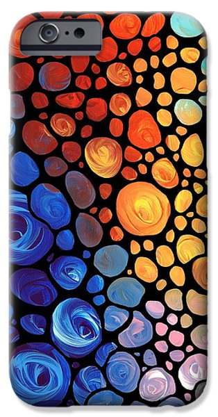 Aqua iPhone Cases - Abstract 1 iPhone Case by Sharon Cummings