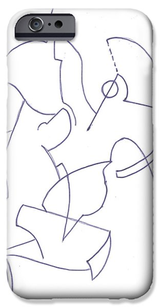 Basic Drawings iPhone Cases - Abstract 11 iPhone Case by Amy Lee