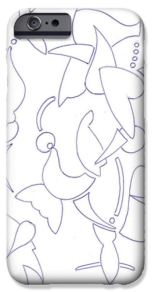 Basic Drawings iPhone Cases - Abstract 14 iPhone Case by Amy Lee
